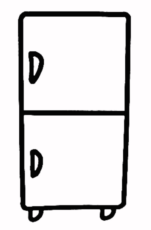 如何画简笔画冰箱,双层冰箱简笔画画法 4