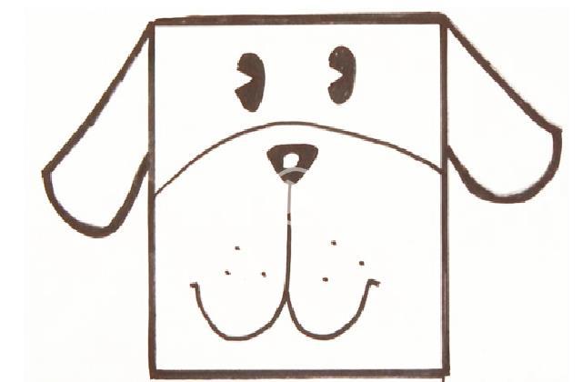 正方形简笔画之小狗