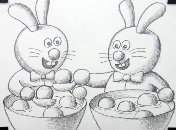 两只兔子吃元宵_动物简笔画-e学堂
