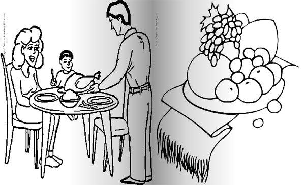 我和爸爸妈妈的感恩节晚餐_人物简笔画-e学堂
