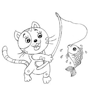 小猫钓鱼_动物简笔画-e学堂