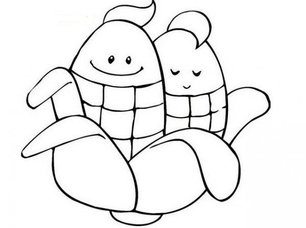 可爱双胞胎玉米_植物简笔画-e学堂