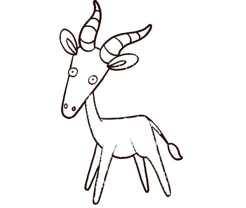 山羊简笔画可爱