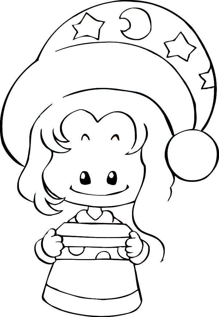 圣诞节小女孩_人物简笔画-e学堂图片