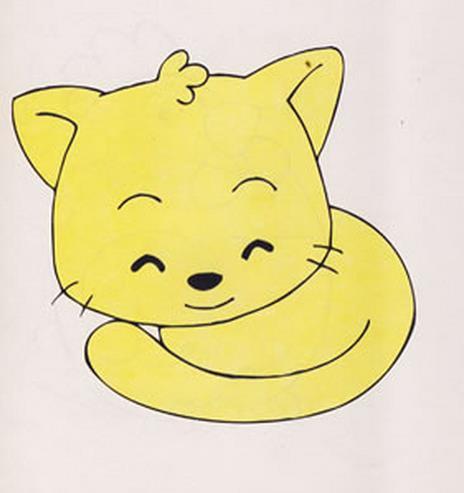 可爱的黄色小猫_动物简笔画-e学堂
