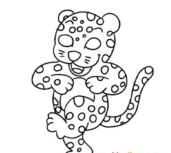 可爱的小花豹_动物简笔画-e学堂