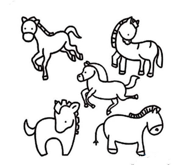 各种姿态的马_动物简笔画-e学堂