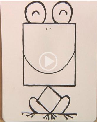 正方形简笔画之青蛙_动物简笔画-e学堂