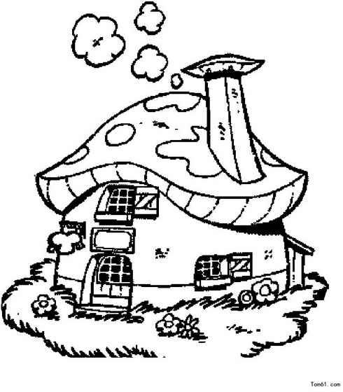 简笔画蘑菇屋步骤图