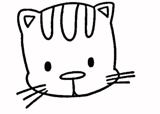 卡通猫咪头饰简笔画