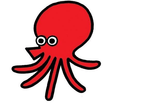 可爱的红色章鱼_动物简笔画-e学堂
