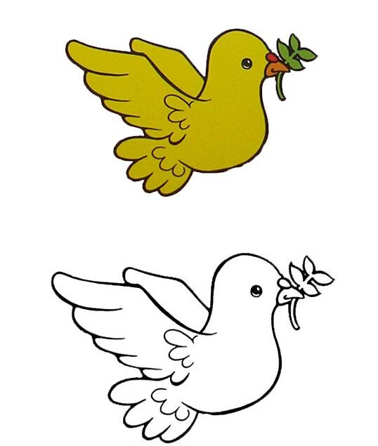 和平鸽背影简笔画 和平鸽动物简笔画