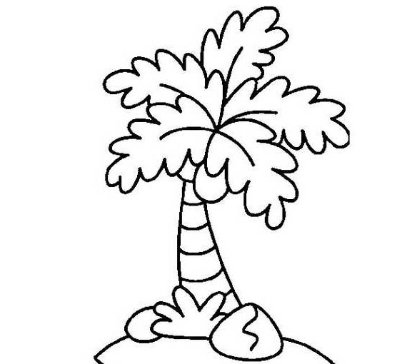 海岛椰子树_植物简笔画-e学堂