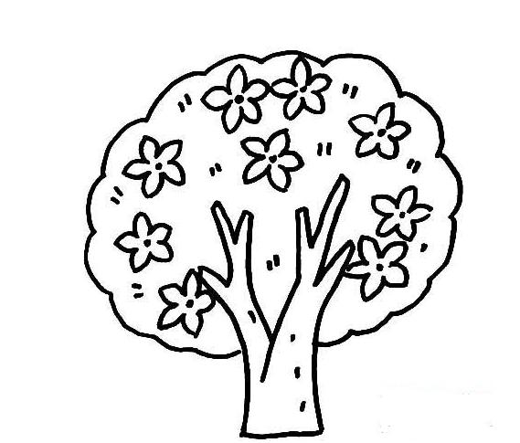 简笔画桃花树风景图片大全